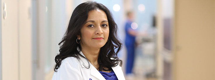 Minaxi Jhawer, MD, chief of hematology/oncology, in the hospital's Wilson Kaplen Infusion Center.