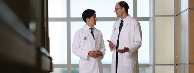 Hematologists/oncologists Brian Kim, MD, and Maxwell Janosky, MD.