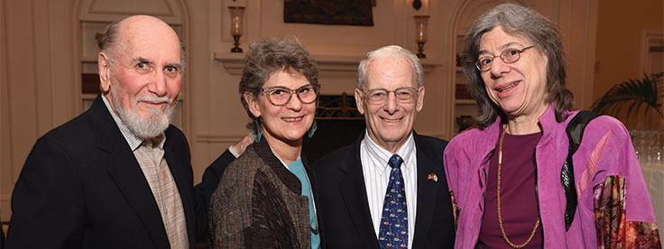 Woody Rudin, Elise Winters, and Leo and Eva Gans at the 2018 President's Reception.